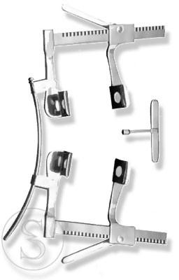 Ранорасширитель реечный для грудной полости с расходом зеркал от 0 до165 мм спаренный.