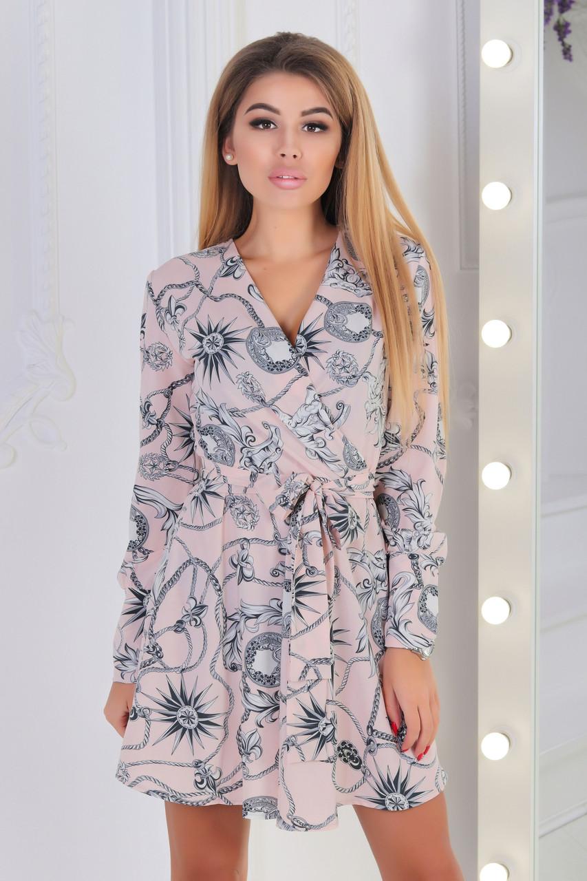 Воздушное расклешенное платье с запахом на груди и пояском, норма и батал большие размеры