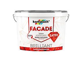 Фасадная матовая краска Kompozit FACADE LATEX Белая 14 кг