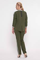 Брючний костюм для повних дівчат Вірджинія оливка, фото 2