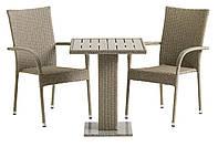 Комплект плетеной мебели для сада и дачи натура (2 кресла и столик на ножке)