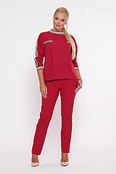 Бордовий брючний костюм для повних дівчат Вірджинія