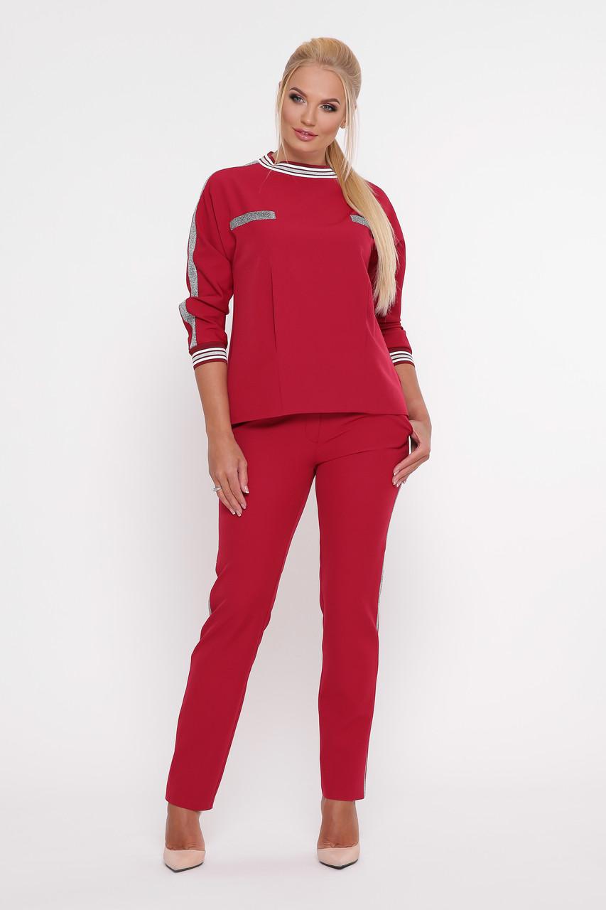 045f9b7f2fd Бордовый брючный костюм для полных девушек Вирджиния