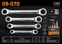Набор накидных ключей с трещоткой 4шт, 8-19мм.,  NEO 09-070