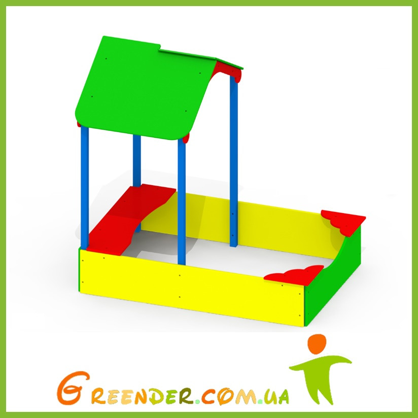Уличная песочница для детского сада с навесом P49 цветные