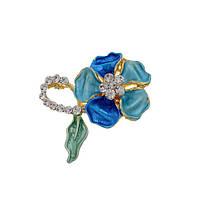 Брошь цветочек глазурь фианиты позолота 2 цвета на выбор