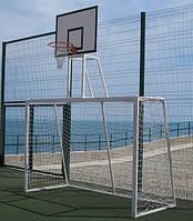Ворота минифутбольные и гандбольные с баскетбольным щитом 900*680 из фанеры, простой корзиной , фото 1