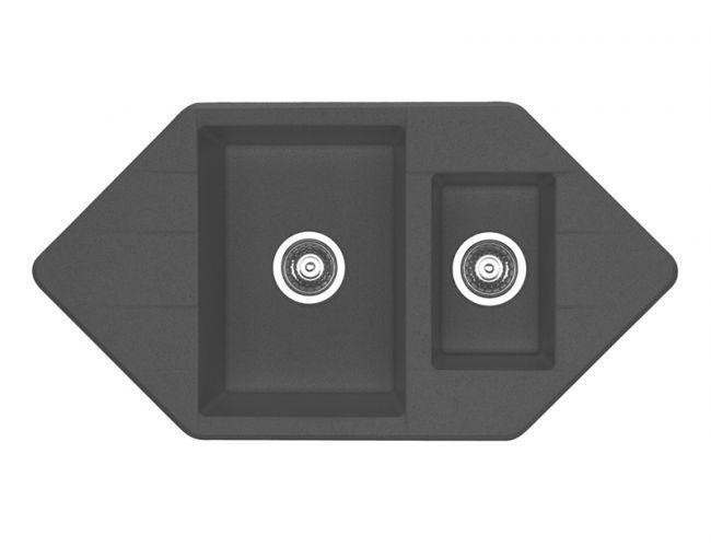 Черная угловая мойка Alveus CUBO 80 А91 carbon 95*50
