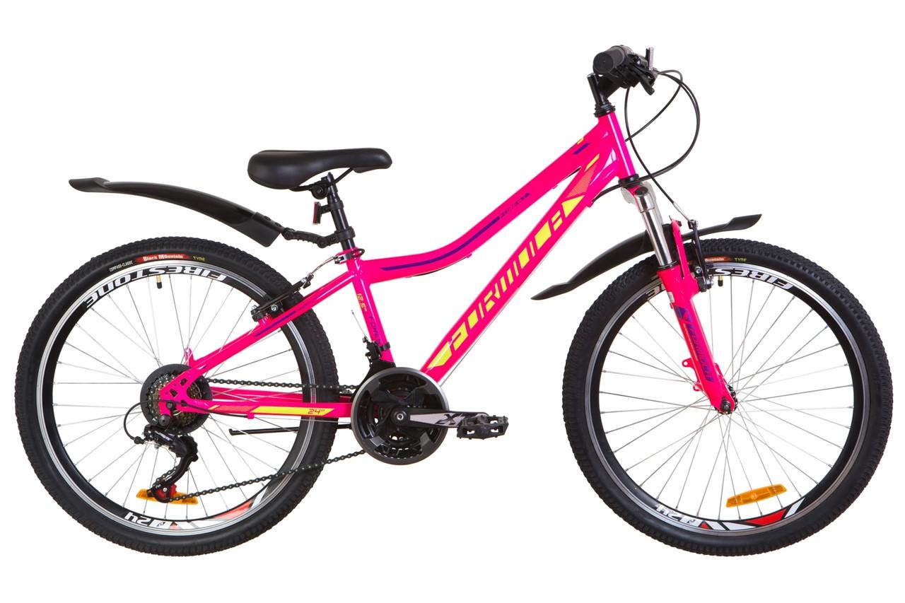 """Велосипед 24"""" Formula FOREST AM 14G Vbr St с крылом Pl 2019 (малиновый с салатным)"""