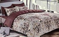Комплект постельное белье, 100% хлопок, двухцветное, 200×230 евро плюс, фото 1
