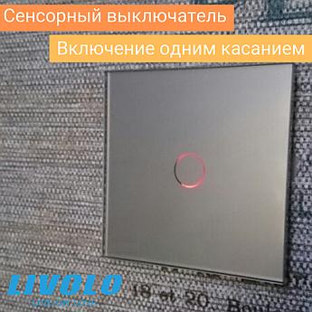 Сенсорный выключатель Livolo цвет серый стеклянная лицевая поверхность (VL-C701-15)