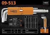 Набор ключей 6-гр 2-10мм, шаровидные, 8шт., NEO 09-513