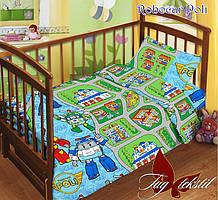 Детский комплект постельного белья с простыней на резинке Robocar Poli