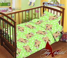 Детский комплект постельного белья с простыней на резинке Мишки