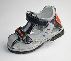 Босоножки, сандалии для мальчика серые кожа Kellaifeng 22р.