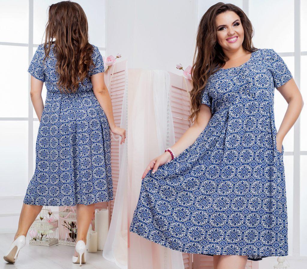 Женское летнее платье из штапеля синее 8190