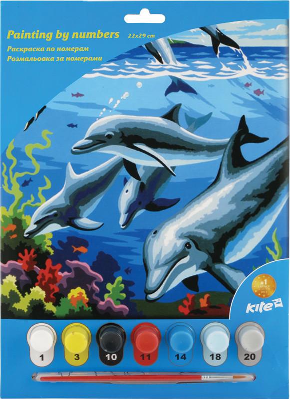 Раскраски по номерам Kite 7 цветов 22х29 дельфины