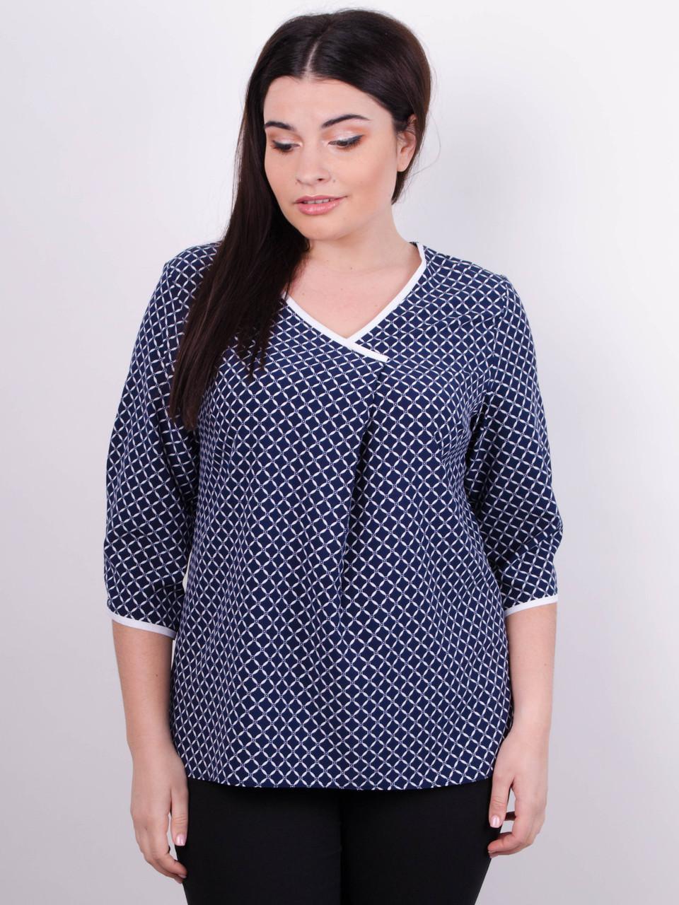a911fe2d578 Стильная блуза больших размеров. Синий. -