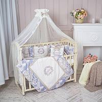 """Премиум комплект в  стандартную детскую кроватку 120/60  """"Fiori"""" синий с бежевым, фото 1"""