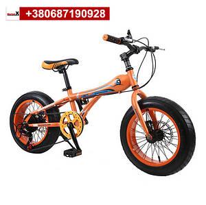 Оранжевый фэтбайк 16 дюймов детский горный велосипед со скоростями