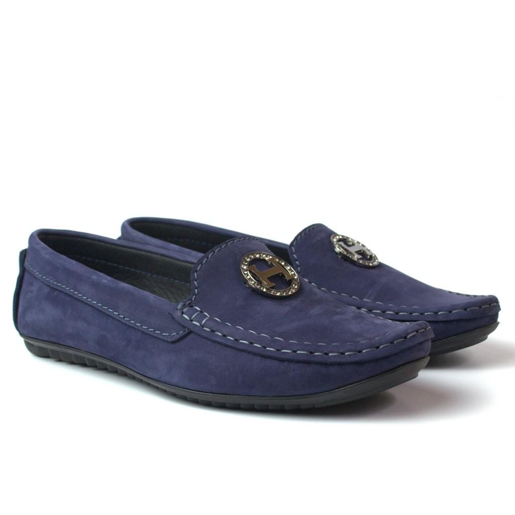 """Мокасины синий нубук женская обувь больших размеров Ornella Blu Vel by Rosso Avangard """"Океан"""""""