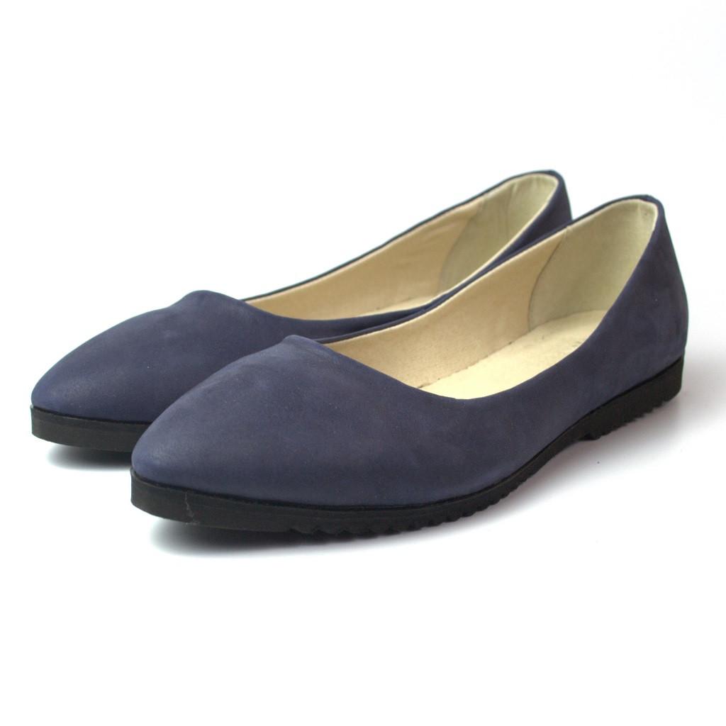 """Балетки кожаные женская обувь больших размеров Gracia V Blu Nub by Rosso Avangard цвет синий """"Океан"""""""