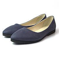 """Балетки кожаные женская обувь больших размеров Gracia V Blu Nub by Rosso Avangard цвет синий """"Океан"""", фото 1"""