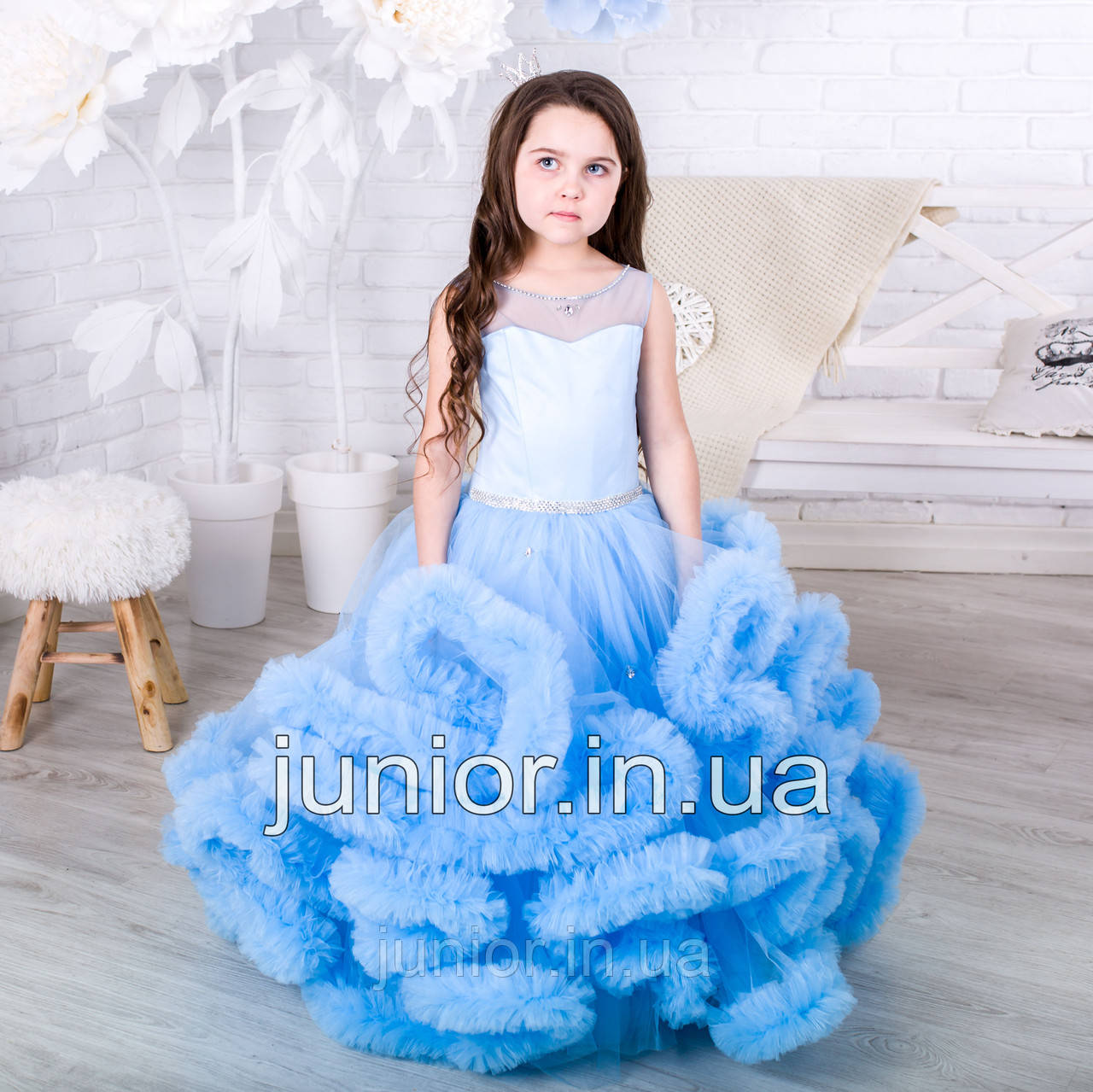 """Нарядное бальное платье для девочки """"Облако"""" нежно-голубое"""