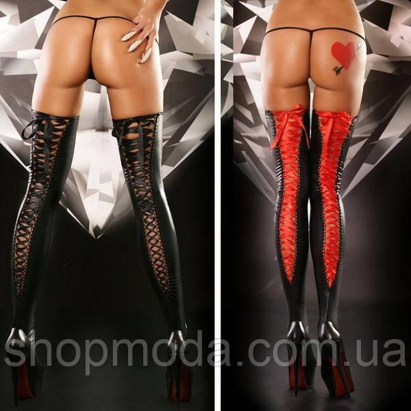 Латексные чулки с шнуровкой сзади.Эротические чулки  Эротическое белье