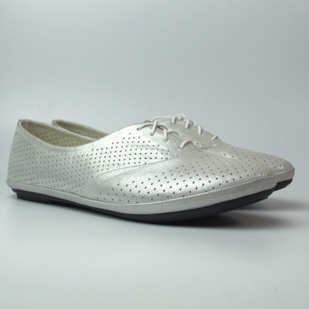 Балетки женская обувь больших размеров LaCoSe White Pearl Perf by Rosso Avangard BS белые кожа
