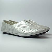 Балетки женская обувь больших размеров LaCoSe White Pearl Perf by Rosso Avangard BS белые кожа, фото 1