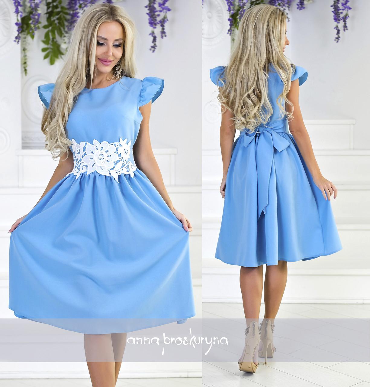 6f8b6f93eb59732 Платье с кружевом на поясе голубое - Одежда для настоящих модниц в Харькове