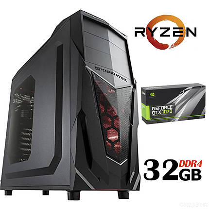 Xigmatek Mach III / AMD Ryzen™ 7 2700 (8 (16) ядер по 3.20 - 4.1 GHz) NEW / 32 GB DDR4 NEW/ 480 GB SSD NEW+1000 GB HDD Б/У / БП Chieftec 600W /, фото 2