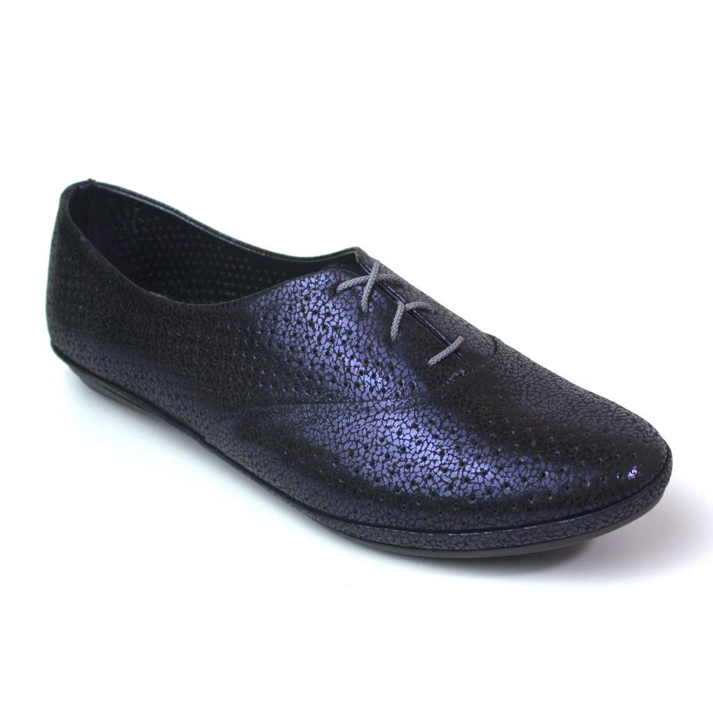 Балетки жіноче взуття великих розмірів LaCoSe Violet Perf by Rosso Avangard BS фіолетові шкіра