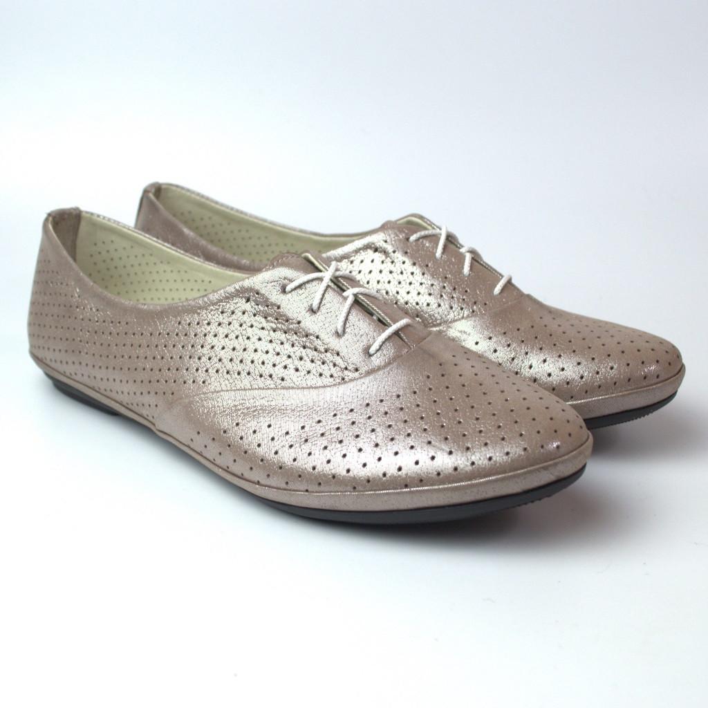 Балетки бежеві жіноче взуття великих розмірів LaCoSe Beige Pearl Perf by Rosso Avangard BS