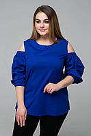 Блуза с вырезами на плечах ЛЕСЯ синяя, фото 1