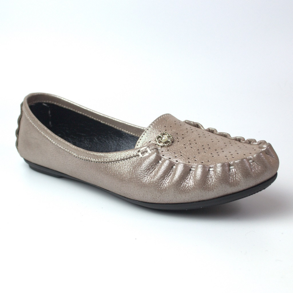 Мокасины кожаные женская обувь больших размеров Tesoruccio Beige Pearl by Rosso Avangard BS бежевые