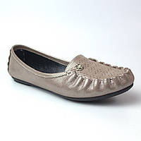 Мокасины кожаные женская обувь больших размеров Tesoruccio Beige Pearl by Rosso Avangard BS бежевые, фото 1