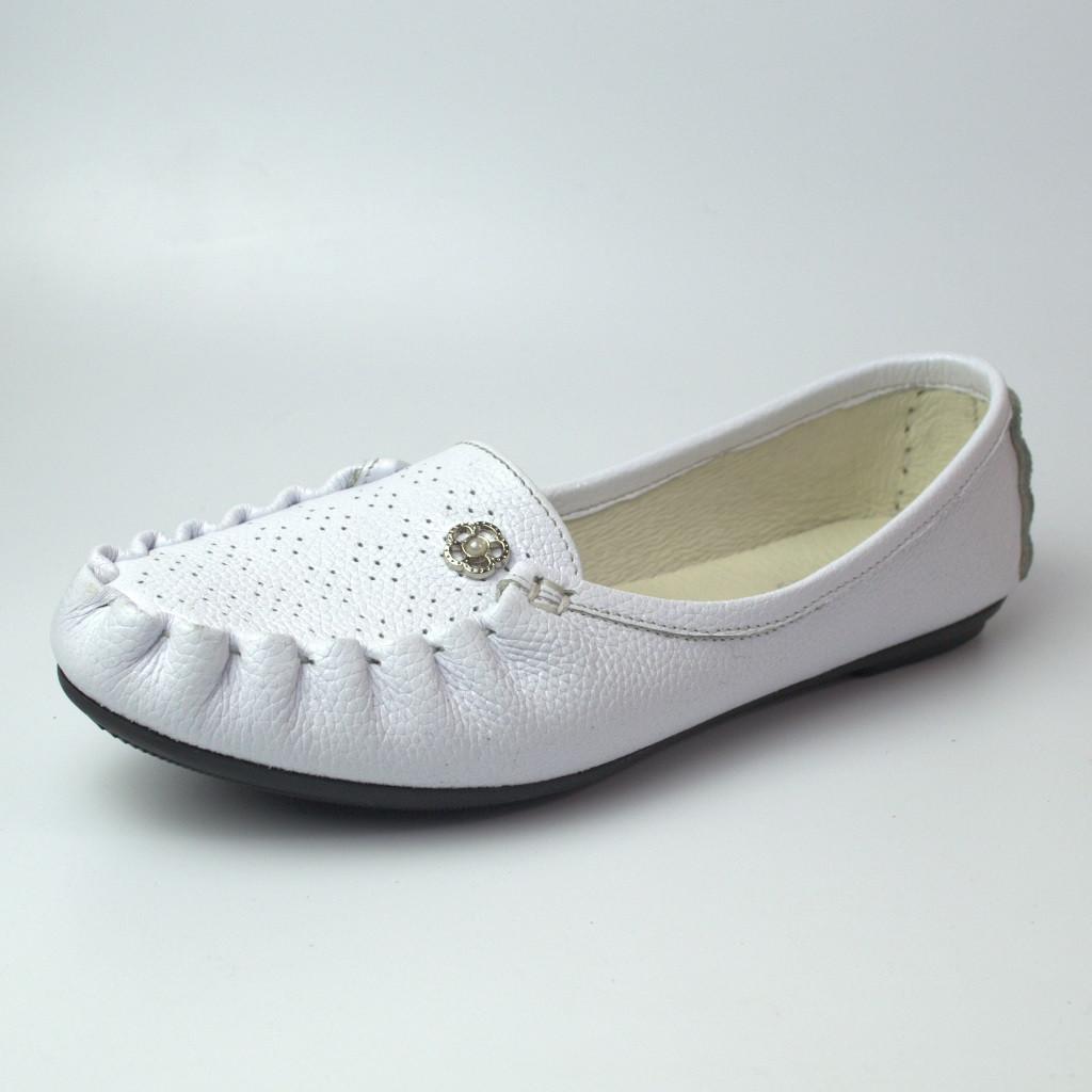 Мокасины кожаные женская обувь больших размеров Tesoruccio White Leather by Rosso Avangard BS белые