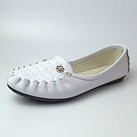 Мокасины кожаные женская обувь больших размеров Tesoruccio White Leather by Rosso Avangard BS белые, фото 1
