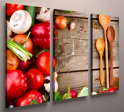 Картина модульна для кухні з годинником 90х60