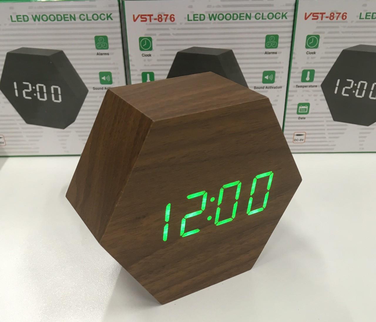 Настольные электронные часы VST-876 коричневые