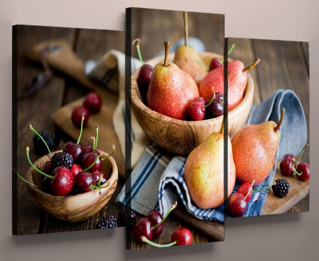 Модульна картина для кухні фрукти 90х70