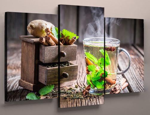 Картина модульная для кухни чай мята 90х70