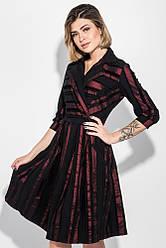 Платье женское с пышной юбкой 68PD545 (Бордо-черный)