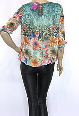 Нарядна шифонова блузка  на резинці знизу, фото 2