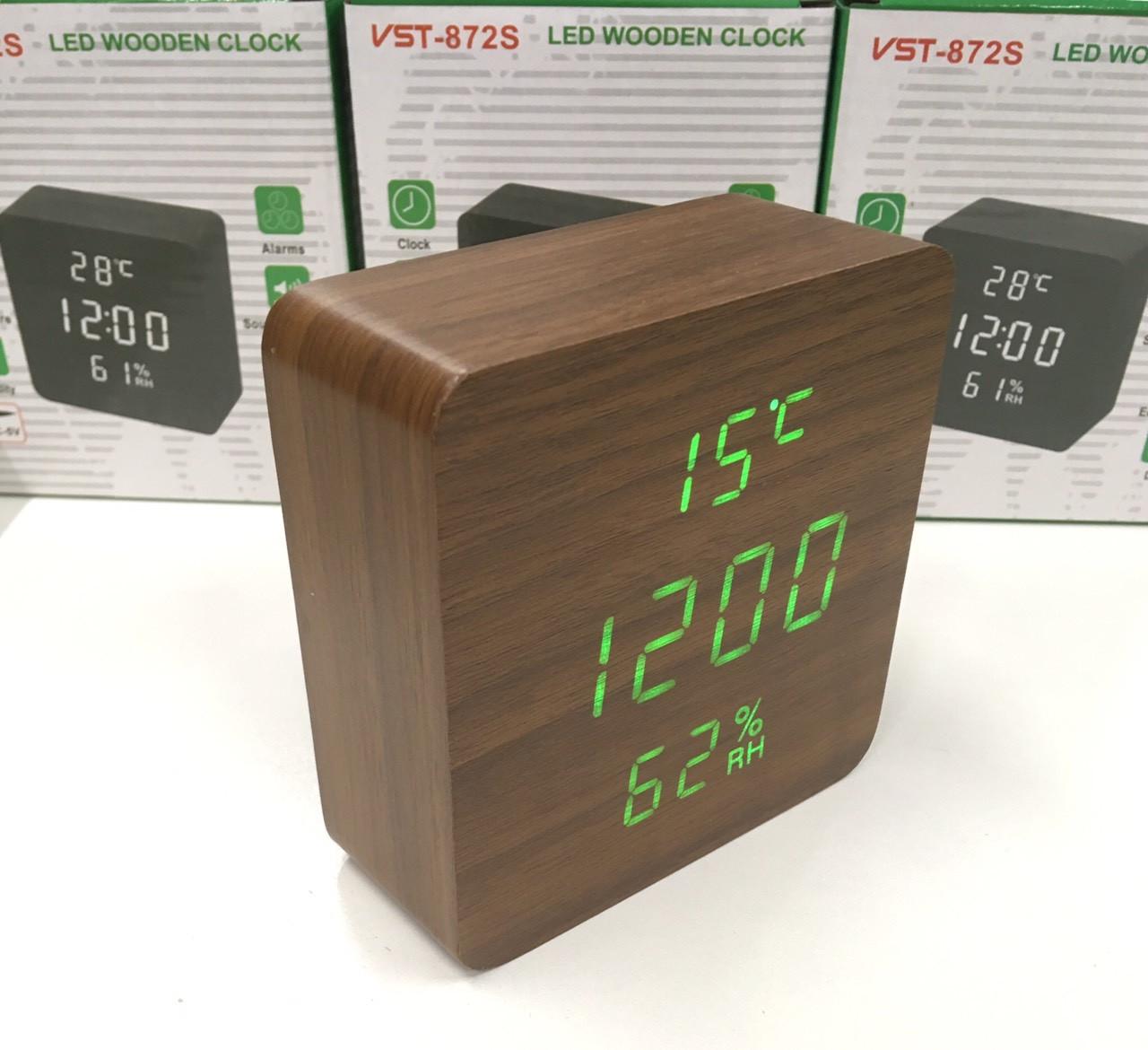 Настольные электронные часы VST-872S с будильником, датой, термометром, гигрометром в форме деревянного бруск