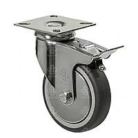 Колеса поворотные с крепежной панелью и тормозом (подшипник скольжения) Диаметр: 125 мм.Серия 23 Light, фото 1
