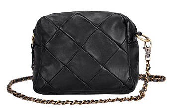 Кожаная женская сумка из натуральной кожи. Маленькая женская сумка через плечо с ремешком-цепочкой Черная