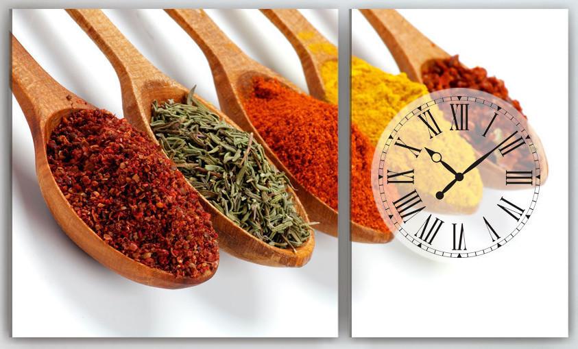 Модульна картина для кухні з годинником 100х60